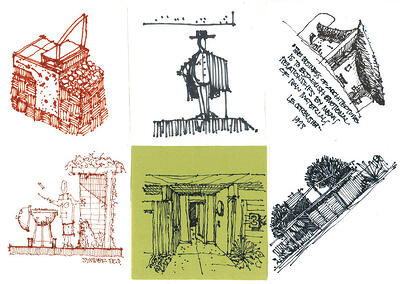 Cocktail Napkin Architecture Sketches by Damon Dusterhoft