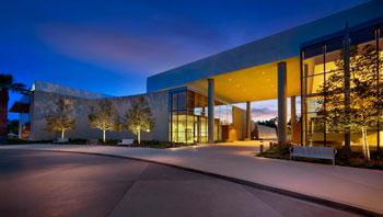 The library at Chino Hills illuminates the night