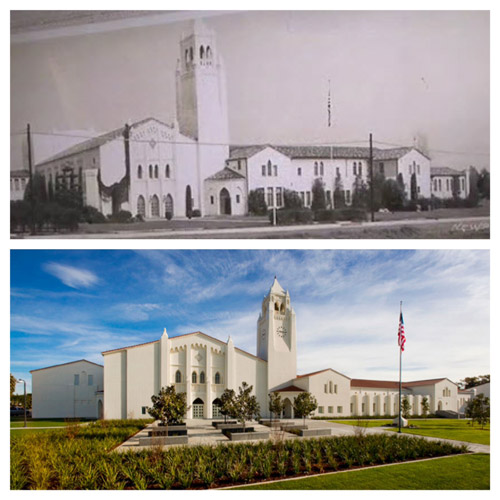 Newport Harbor High Bell Tower Before and After